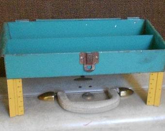 Vintage METAL BOX CADDY, tool tray, wood ruler legs, homemade, ooak, funky fun organizer, industrial chic