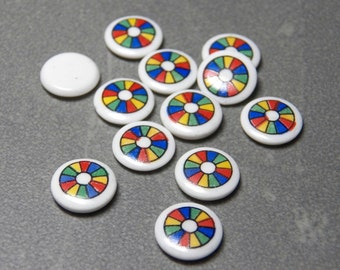 Vintage West German Color Wheel on White Round Glass 10mm Flat Back Tiles/Cabochons (6)