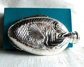 Vintage Silver Hip Flask Figural Fish Towle