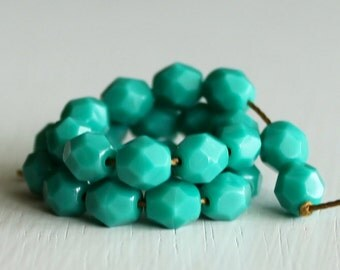 25 Opaque Teal Faceted 6mm Czech Glass Beads