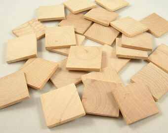 25 Wood Squares, Shapes - 1 1/4 inch x 1/8 inch - Wooden Tiles - Blank Pendants - Unfinished Wooden Squares for DIY