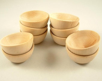 10 Mini Wood Bowls 2 1/2 inch, Salt Bowl, Pinch Bowl, Unfinished Small Wooden Bowls for DIY