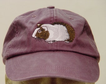 GUINEA PIG HAT - One Embroidered Wildlife Cap - Price Embroidery Apparel - 24 Color Caps Available