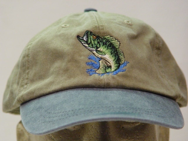 LARGEMOUTH BASS HAT One Embroidered Fish Wildlife Cap
