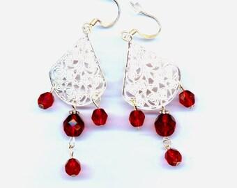 Filigree Chandelier Red Crystal Earrings . Christmas Earrings . Firepolished Earrings- Filigree Chandelier earrings by enchantedbeas on Etsy