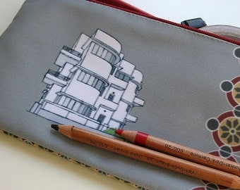 zipper pouch pencil case, clutch, Bauhaus, city, architecture, Tel-Aviv, illustration, building, grey, red