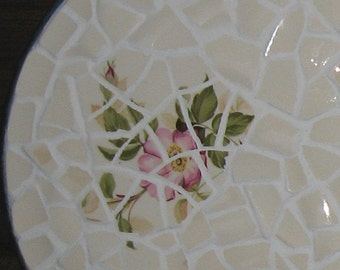 """Vintage Broken China Ceramic Shards """"Briar Rose"""" Mosaic Dish and """"Cottage Chic"""" Painted Table"""