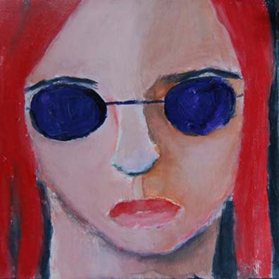 Acrylic Portrait Painting Too Cool For School Girl, Face, Purple Sunglasses, Orange Red Hair 6x6 canvas board