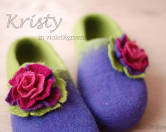 Felted Slippers home shoes from wool  in  violet  green with flowers custom colors and sizes