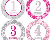 12 Monthly Baby Milestone Waterproof Glossy Stickers - Just Born - Newborn - Weekly stickers available - Design M019-03