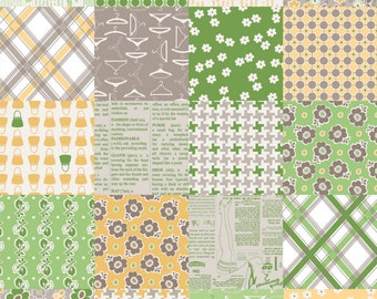 1/4 Yard Riley Blake Millie's Closet Designer Cloth Green, Quantities Available