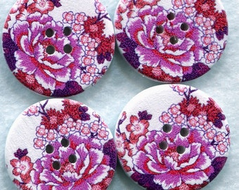Pink Peony Buttons Decorated Wooden Buttons  30mm (1 1/4 inch) Set of 8 /BT54