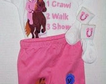 Little Girl Equestrian Bodysuit and Pants Infant Gift Set, Pink Horse Set, Horseback Rider Baby Gift Set