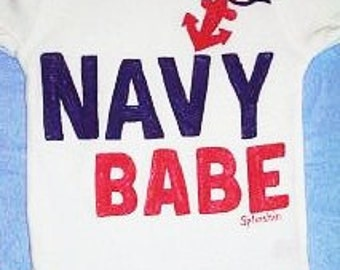 Navy Baby, Navy Babe Bodysuit, Nautical Baby, Baby Girl One Piece, Patriotic Baby, Red White and Blue
