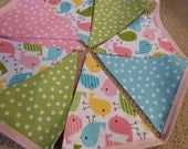 Reserved for Brooke - Spring Sweet Birdie Polka Dots Bunting Flags Banner - 11 Flags