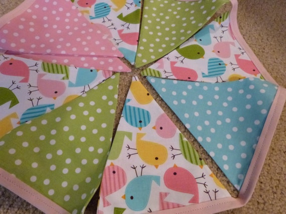 Spring Sweet Birdie Polka Dots Bunting Flags Banner - 9 Feet - 9 Flags - Perfect for a Shower or Girl Room