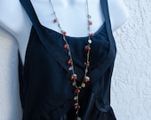 Cherry Necklace, Elongated Necklace, Red Cherry Necklace, Beaded Brass Necklace, Fashion Modern Style