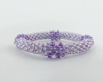 Sparkly Bead Bangle, Bead Crochet Bracelet, Ballroom Wedding or Prom Jewelry- Item 1307