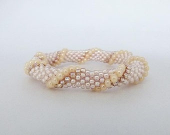 Bead Crochet Rope Bangle, Spiral Design in Oyster, Yellow Pearl & Champagne - Item 1201