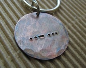 rustic copper Morse Code key chain