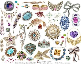 PRECIOUS JEWELS (Part 2)  - Digital Collage Sheet (No 006)