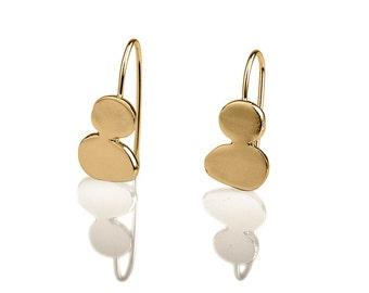 Pebbles Gold Earrings, stones design hanging earrings, drop shaped earrings, 14k Gold hanging earrings