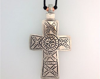 Cross Primitive Design Lead Free Pewter Large on Two Knot Cord