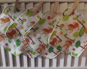 Set of 4  Monkeys In Trees Print Children's Washcloths,Reusable Wipes, Napkins