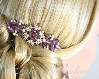 Vintage Bridal Comb Amethyst Wedding Hair Comb Purple Wedding Hair Accessories Gold Comb, CHANTILLY