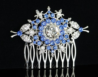 Bridal Hair Comb Blue Wedding Hair Accessories Bridal Hair comb Swarovski Sapphire Bridal Comb Vintage Wedding Comb Something Blue KIRRIE