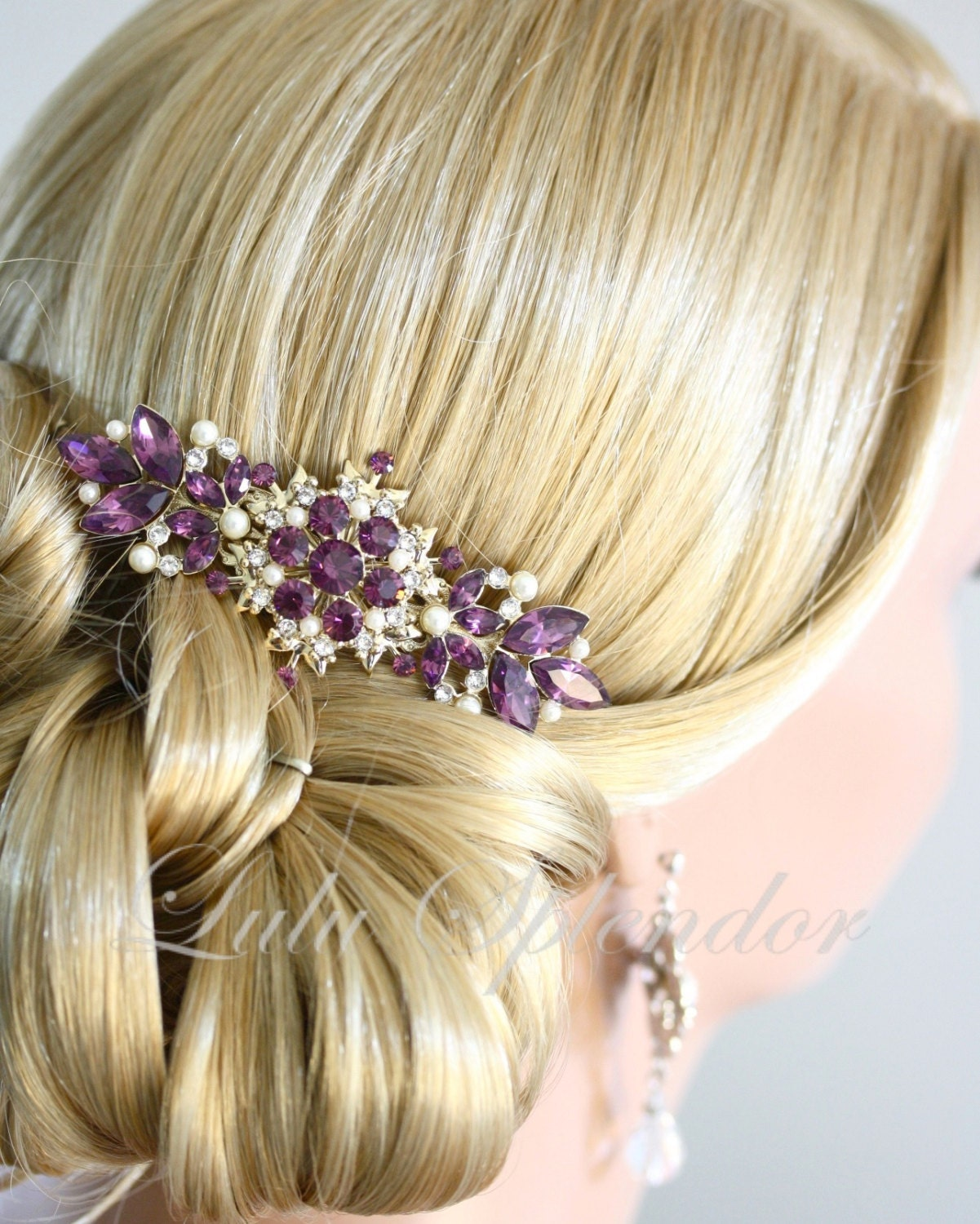vintage bridal comb amethyst wedding hair comb purple wedding