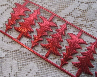 Dresden Trims Germany 10 Red Paper Foil Die Cut Christmas Trees