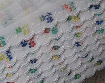 Czech Republic Woven Multi Colored Floral Cotton Trim 16mm 2 Yards  Folk Costume Trim