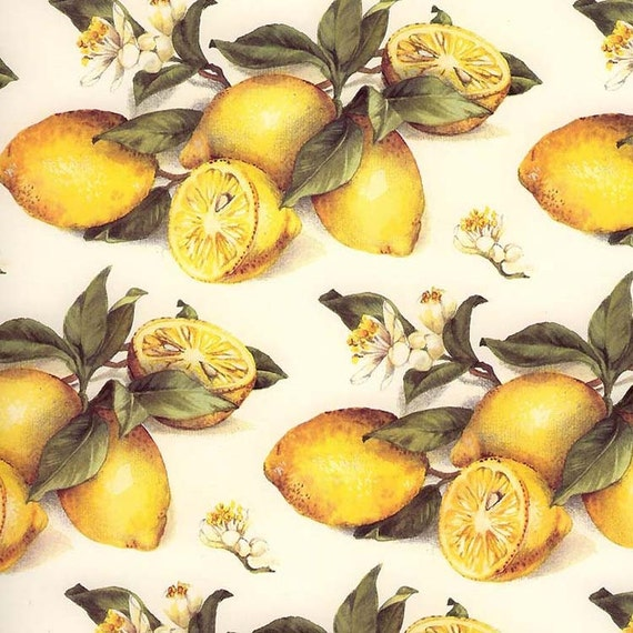 Italy Authentic Florentine Paper Tassotti Yellow Lemons Italian Paper IP T574