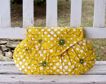 Bridesmaid Gift, Yellow Green Purse, Floral Clutch, Wedding Purse