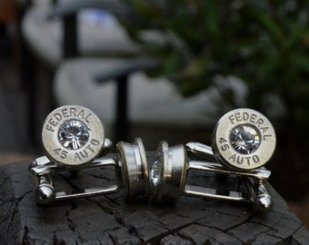 Wedding cuff links, Bullet cuff links Wedding Special 2 matching pairs silver Federal .45 Auto, One for the Groom one for the Best Man