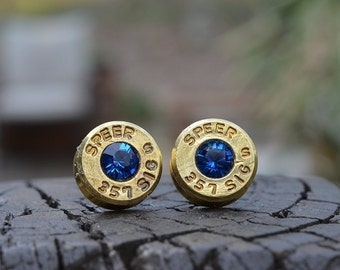 Bullet Earrings stud or post, Brass/Gold Speer .357 Sig Handcrafted with Swarovski crystals