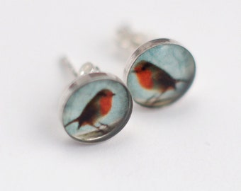 Tiny Robin Redbreast in Sterling Silver Stud Earrings with Fine Art Image Transfer and Resin