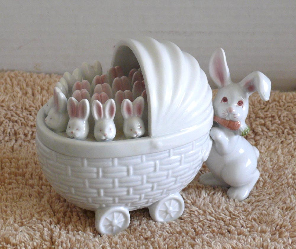 Bunny Ceramic Covered Dish Baby Buggy Bunnies Fitz And