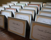 Tent Escort or Place Card in Custom Colors, Fonts, for Wedding Reception, Party and Guests - The Bistro Collection Sample