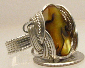 Handmade Sterling Silver Wire Wrap Yellow Paua Shell Ring