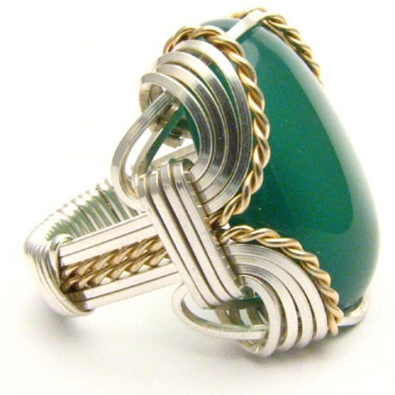Handmade Wire Wrap Two Tone Sterling Silver/14kt Gold Filled Green Onyx Ring