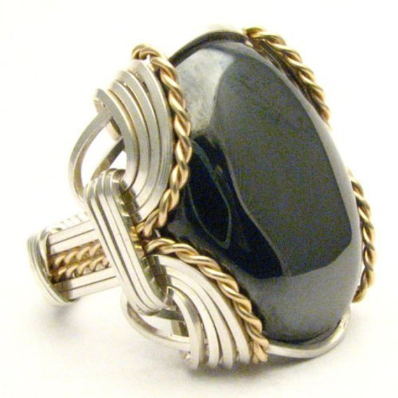 Handmade Wire Wrapped Vintage Two Tone Sterling Silver/14kt Gold Filled Hematite Ring