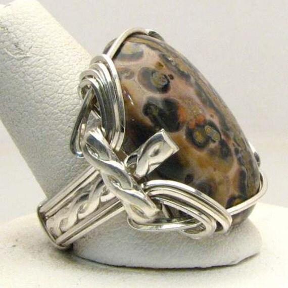 Handmade Sterling Silver Wire Wrap Leoaprd Skin Agate Ring