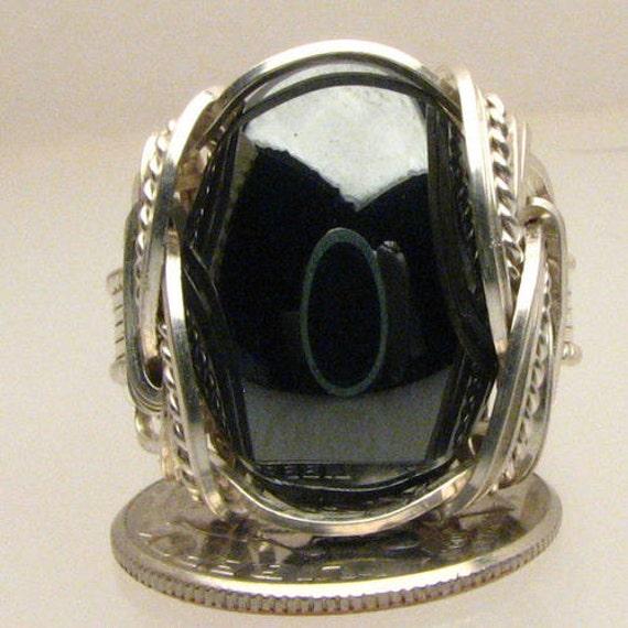 Handmade Sterling Silver Wire Wrap Hematite Ring