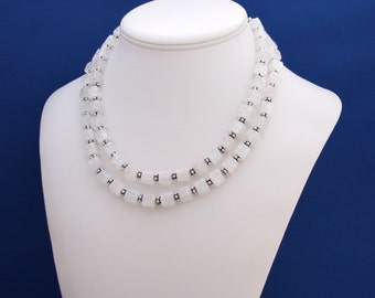 Cracked Quartz Crystal Double Strand Statement Necklace