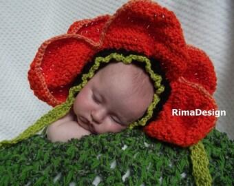 SALE Hat bonnet 0-6 Genuine original Baby boy girl POPPY flower photography props handmade in Canada