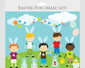 Easter clipart - boys, party clip art, bunny, chicks, rabbits, eggs, bunnies, for personal and commercial use