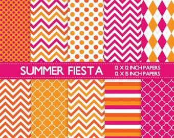 Digital scrapbook papers - fun summer colors, hot pink, tangerine, orange, chevron, quatrefoil, polka dots, stripes for scrapbooking