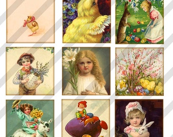 Digital Collage Sheet  Easter Images Charms 1 X 1 (Sheet no.FS186) 1 inch-Instant Download